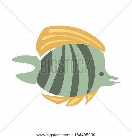 Grey And Yellow Butterfly Fish, Part Of Mediterranean Sea Marine Animals And Reef Life Illustrations Series. Aquarium Element Isolated Stylized Icon, Underwater Inhabitant Artistic Sticker.