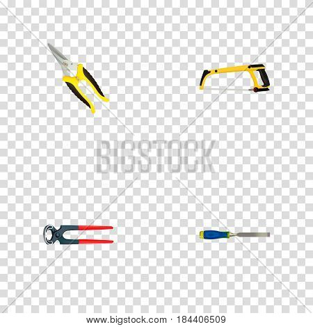 Realistic Tongs, Arm-Saw, Carpenter And Other Vector Elements. Set Of Instruments Realistic Symbols Also Includes Arm, Tongs, Pincers Objects.