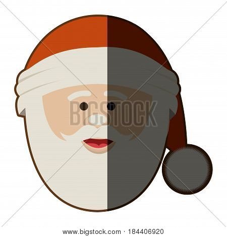 silhouette of santa claus face with christmas hat in closeup and half shadow vector illustration