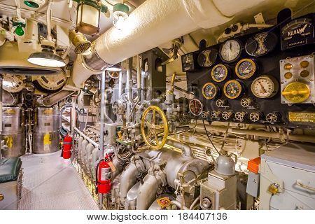 HONOLULU, OAHU, HAWAII, USA - AUGUST 21, 2016: engine room hall of USS Bowfin Submarine SS-287 at Pearl Harbor. Historic Landmark of the Japanese attack in WW II.