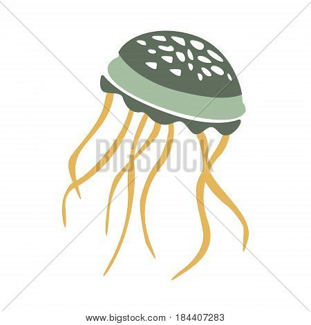 Floating Jellyfish, Part Of Mediterranean Sea Marine Animals And Reef Life Illustrations Series. Aquarium Element Isolated Stylized Icon, Underwater Inhabitant Artistic Sticker.