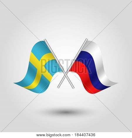 vector waving simple triangle two crossed swedish and russian flags on slanted silver pole - icon of sweden and russia