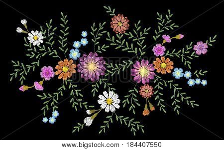 Embroidery flower daisy gerbera herb sticker patch fashion print textile vector illustration art
