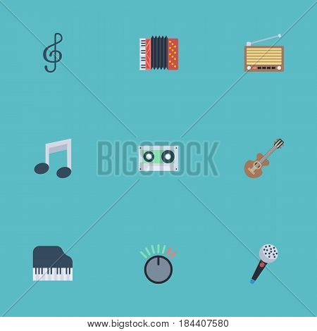 Flat Octave Keyboard, Knob, Radio And Other Vector Elements. Set Of Audio Flat Symbols Also Includes Accordion, Tuner, Acoustic Objects.