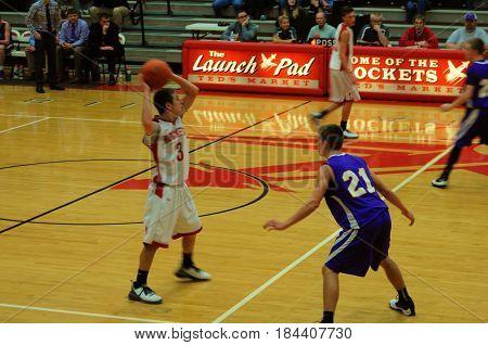 Leipsic High School verses Pandora Gilboa High School , boys basketball game, Pandora, Ohio, December 26th, 2015