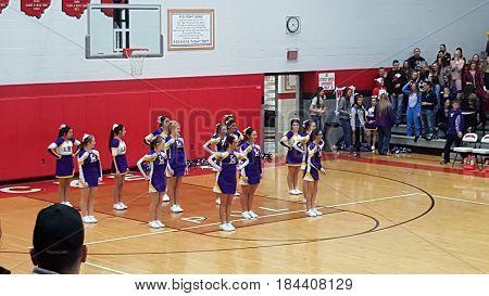 cheerleaders, boys basketball game, Leipsic High School verses Pandora Gilboa High School, Pandora, Ohio, December 26th, 2015