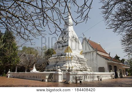 Wat Phra That Si Song Rak Temple Architecture Is In The Lan Chang Style For People Visit And Praying