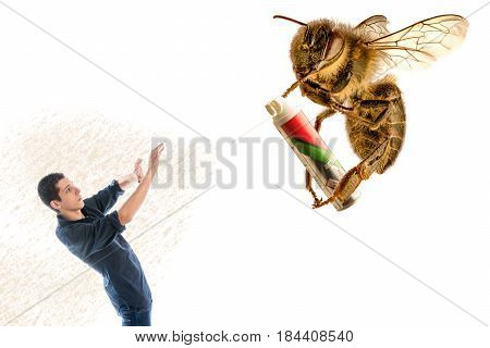 Giant bee sprain a man with insecticide spray