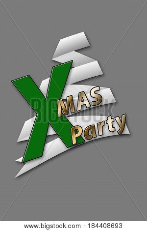 Abstract Christmas Tree on gray Backdrop with Text