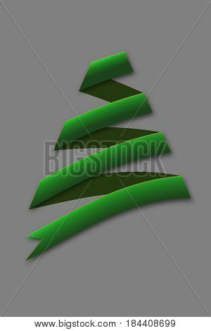 Green abstract Christmas Tree on gray Backdrop