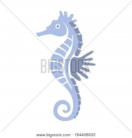 Blue Seahorse, Part Of Mediterranean Sea Marine Animals And Reef Life Illustrations Series. Aquarium Element Isolated Stylized Icon, Underwater Inhabitant Artistic Sticker.