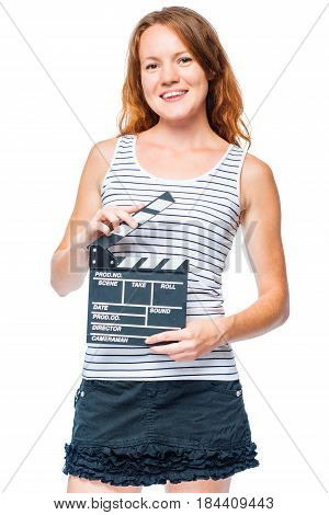 Vertical Portrait Of The Assistant On The Set With The Clapper Of The Movie