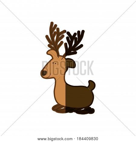 silhouette caricature color of funny reindeer lazy and half shadow vector illustration