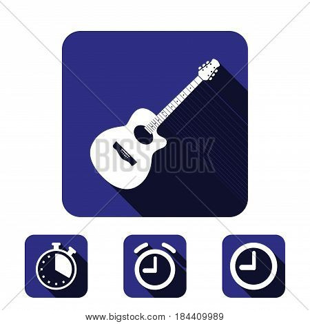 Acoustic guitar sign icon. Music symbol icon stock vector illustration flat design