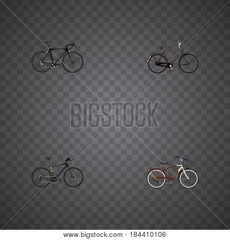 Realistic Exercise Riding, Hybrid Velocipede, Training Vehicle And Other Vector Elements. Set Of Sport Realistic Symbols Also Includes Bicycle, Bike, Hybrid Objects.