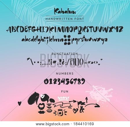Handwritten script font. Brush font. Uppercase, lowercase, numbers, punctuation and a lot of fun figures