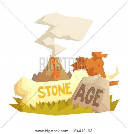 Stone age elements, volcanic eruption, mammoth, prehistoric symbols, colorful cartoon vector illustration