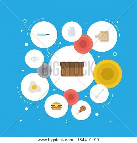 Flat Loaf, Teapot, Omelette And Other Vector Elements. Set Of Cooking Flat Symbols Also Includes Food, Board, Breadboard Objects.
