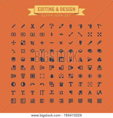Editing And Design Glyph Icon Set. Fully editable vector Illustration.