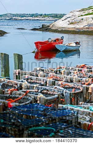 Lobster fishing boats and lobster traps .