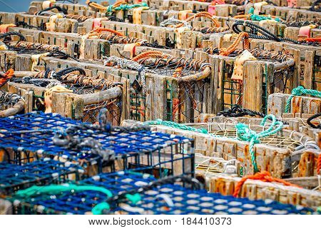 Stacks of lobster traps, closeup view .