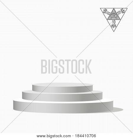 White podium multi-leveled on a white background.Vector illustration of an eps 10