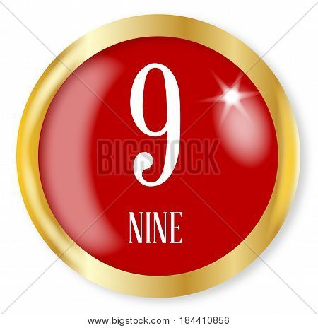 9 for Nine button from the NATO phonetic alphabet/number with a gold metal circular border over a white background