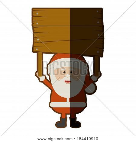 colorful silhouette of santa claus with wooden banner and half shadow vector illustration