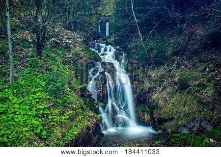 In front are grass and plants covered with banks. A cascading waterfall is in the background. The beautiful waterfall is in the Beskydy in the Czech republic.