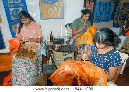 Ladies During The Manufacture Of Batik At Kandy