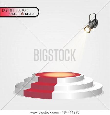 White podium multi-level on a transparent background with a red path and spotlight floodlight. Vectors illustration of the eps 10.