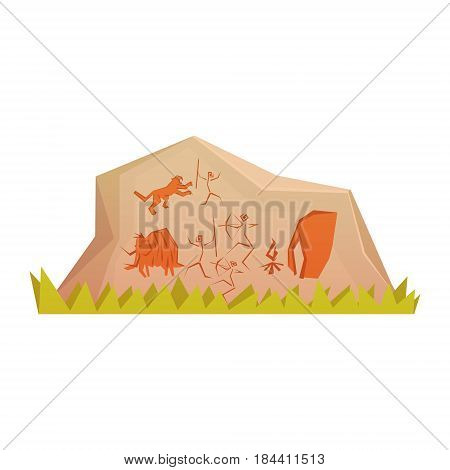 Prehistoric rock engravings, colorful vector illustration isolated on a white background