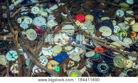 Old discarded buttons thrown in the grass