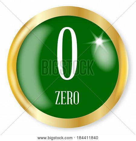 0 for Zero button from the NATO phonetic alphabet/number with a gold metal circular border over a white background