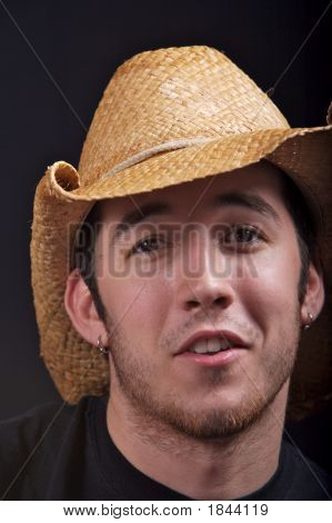 Man Wearing Cowboy Hat