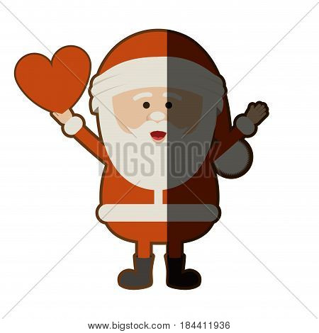 colorful silhouette of santa claus with open arms and holding heart in hand and half shadow vector illustration