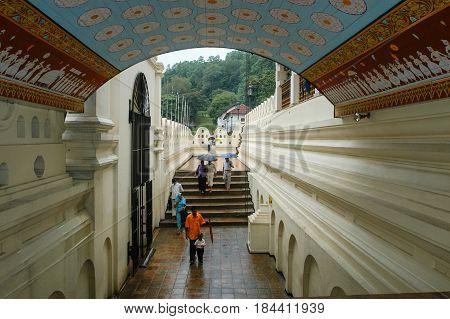 Kandy, Sri Lanka - 16 December 2004: people walking in the Royal Palace Complex Of The Former Kingdom Of Kandy Sri Lanka