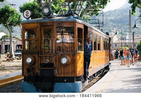 Port de Soller Mallorca Spain - May 26 2016: Tram in the railway station of Soller. Travel attraction of Mallorca. A vintage tram runs from Palma to Soller