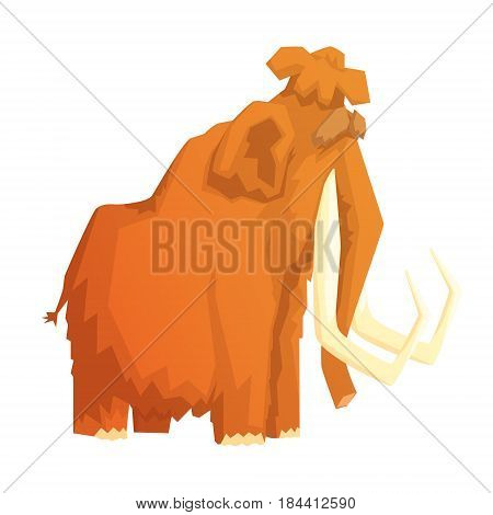 Mammoth, mammal ice age extinct animal, colorful vector illustration isolated on a white background