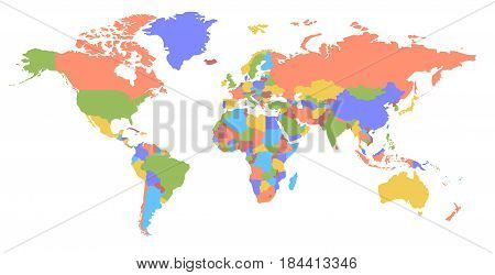 Color world map. Political map. Every country is isolated.