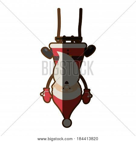 colorful silhouette caricature of santa claus pendant of swing and half shadow vector illustration