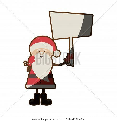 colorful silhouette caricature of santa claus with banner and half shadow vector illustration