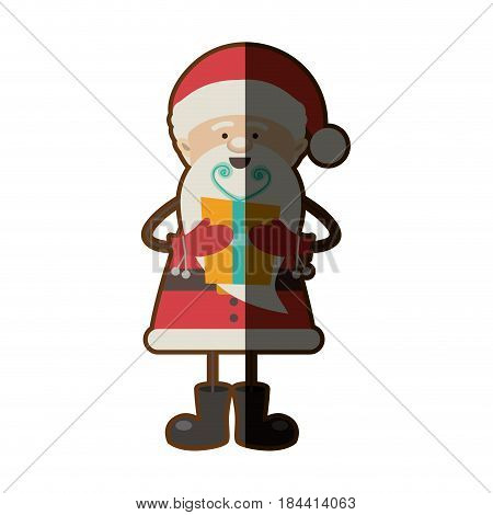 colorful silhouette caricature of santa claus with gift box and half shadow vector illustration