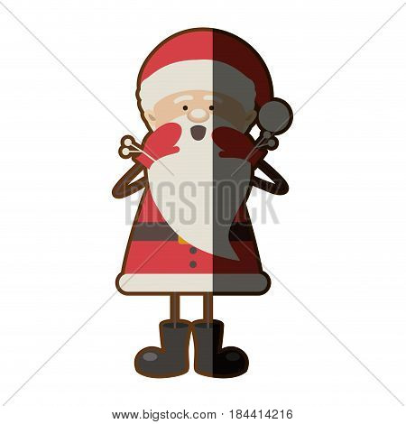 colorful silhouette caricature of santa claus screaming and half shadow vector illustration