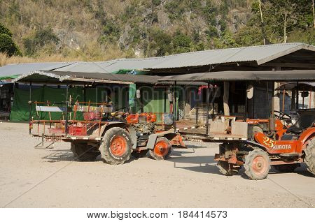 Tractor Stop At Station Waiting Travelers People For Tour Bring To Top Of Phu Pa Po Mountain Or Fuji