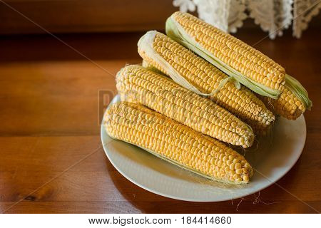 Boiled corn on a plate in the kitchen. Top view.
