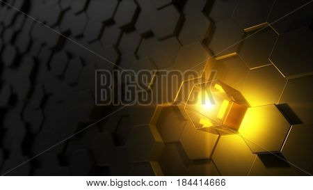 3d illustration of hexagon covered wall. random elevated hexagons and chosen one with light source. golden light version.