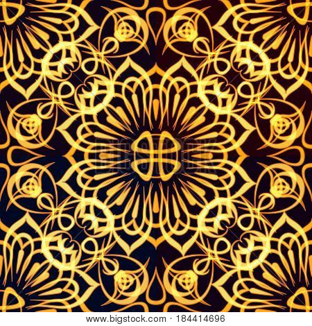 Abstract Seamless Golden Background with Symbolical Tile Floral Patterns. Eps10, Contains Transparencies. Vector