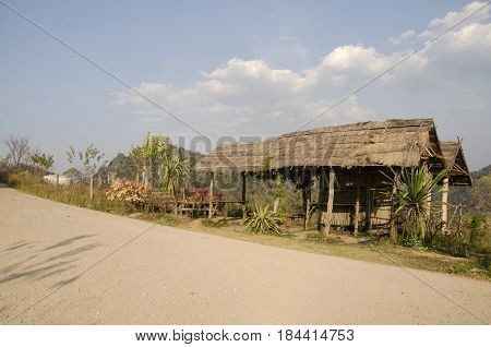 Wooden Hut And Garden For Service Travelers People Rest And Relax Between Go To Top Of Phu Pa Po Mou