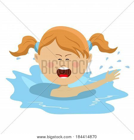 Little cute girl swiming and calling for help over white backgroud